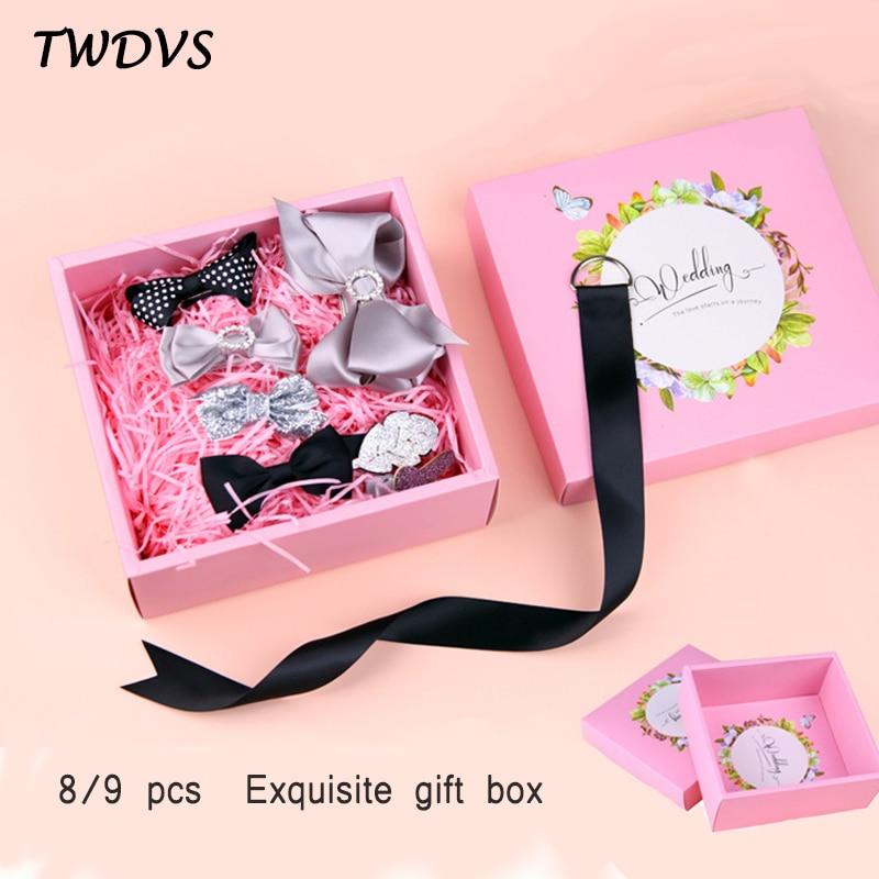 Cute Hair Clips Set 8/9 pcs set Headband Kids Fine Hairpins Hair Accessories Exquisite gift box W269