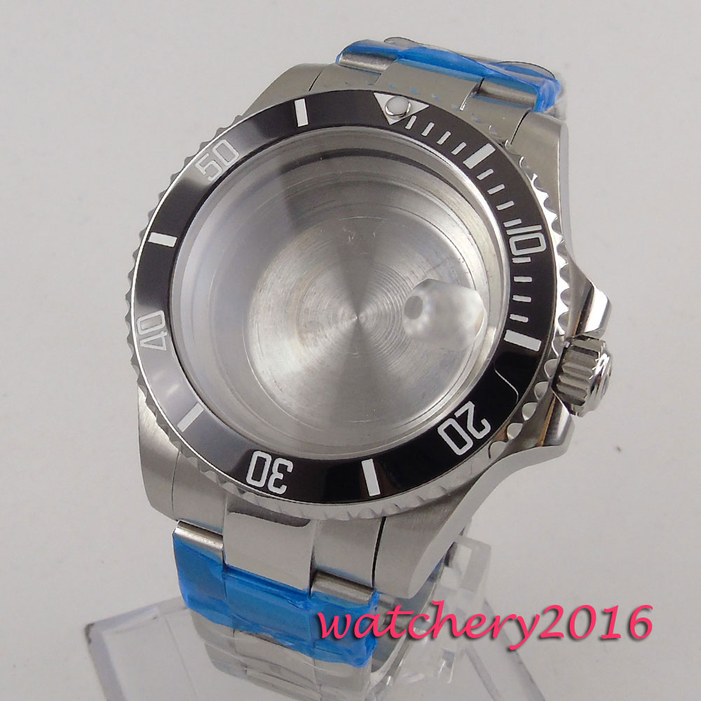43mm Sapphire Glass Black ceramic bezel Watch Case fit ETA 2824 2836 Movement цена и фото