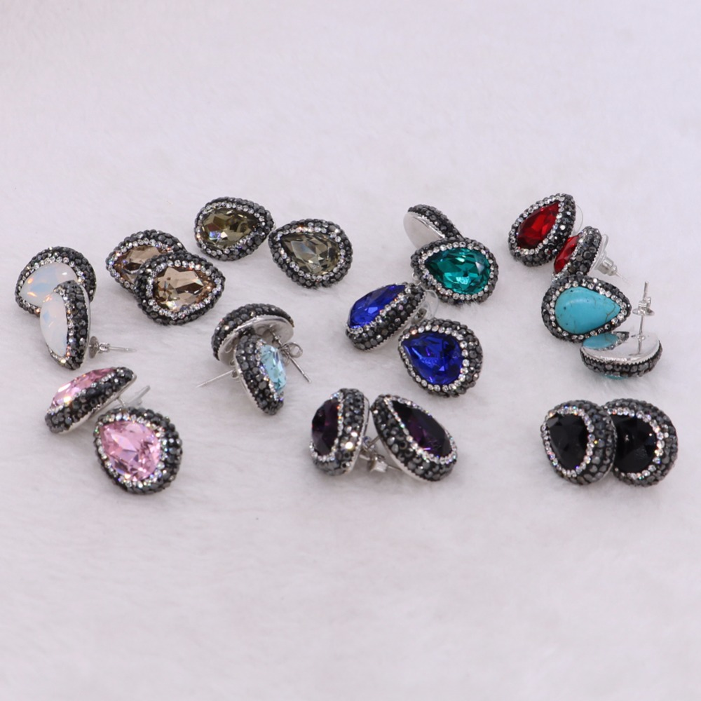 Multi color stud earrings high quality glass faceted beads bling druzy earrings handcrafted gem jewelry for women 1005