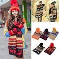 New Зимние Женщин Трикотажные Лыж Cap Hat Шарф Теплый Wrap Набор Рождество Снежинка Олень Этническая