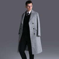 Men Double Breasted Long Wool Coat Fashion Winter Turn Down Collar Work Business Thick Army Green Blends Slim Pea Coat E26