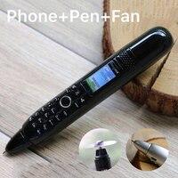 Mini Cute Pen Mobile Phone With Electric Fan 2G GSM Magic Voice Dual Sim Camera MP3 BT Dialer Recording Pen With Flashlight