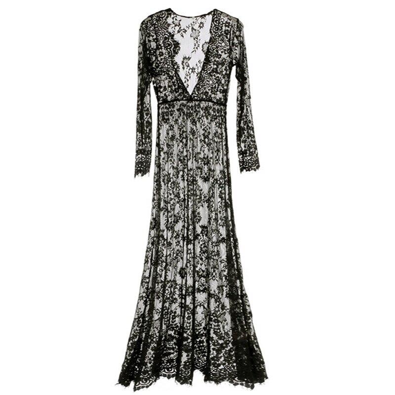 Для женщин пикантные кружевные цветочные полупрозрачные платья лето Глубокий v-образным вырезом Для женщин пол Длина свободные длинный рук...
