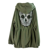 Autumn Winter Adjustable Waist Women Back Skull Army Green Jacket Loose Hooded Coat Outwear