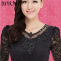 2014 new winter Korean large size women with thick gauze velvet lace stitching shirt sleeved women