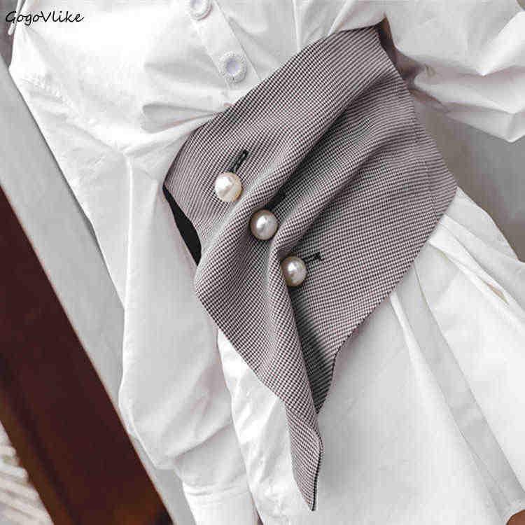 2019 нерегулярные жемчуг широкий ремни серый большой пояс Винтаж плиссированные поясом для девочек 3D вырезать оригинальная дизайн LT243S50