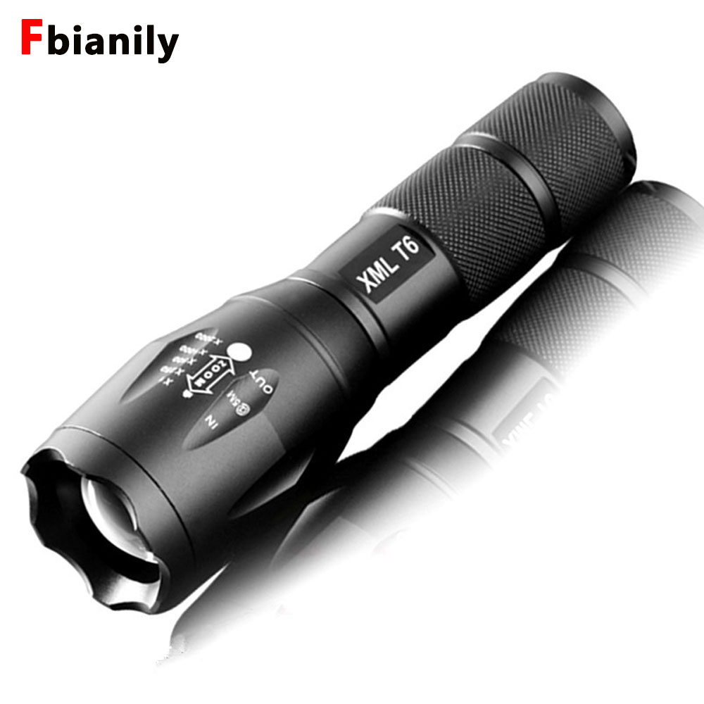 Portable LED Flashlight LED Torch Zoomable Flashlight 8000LM E17 CREE XM L T6 5 Mode Light For 18650 or 3xAAA NO Battery-in Flashlights & Torches from Lights & Lighting
