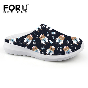 Cute Wedge Sandals | FORUDESIGNS Summer Shoes Women Sandals Cute Bear Nurse Pattern Casual Brand Women's Slippers Woman Beach Flats Sandals Female