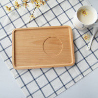 Japan Style Beech Wood Serving Tray with Groove Rectangular Solid Whole Wood Bread Coffee Plate Tea Tray Wooden Plate Household