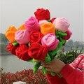 10 peças bela flor brinquedos muticolour rose flores lovely plush flores cerca de 33 cm