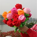 10 pieces beautiful flower toys muticolour rose flowers lovely plush flowers about 33cm