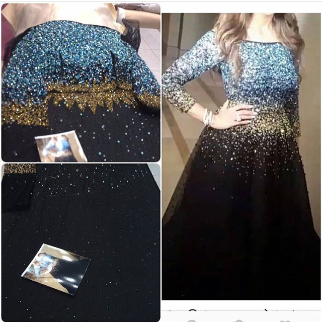Glitter Blue And Gold Beads Evening Dresses For Sale Three Quarter