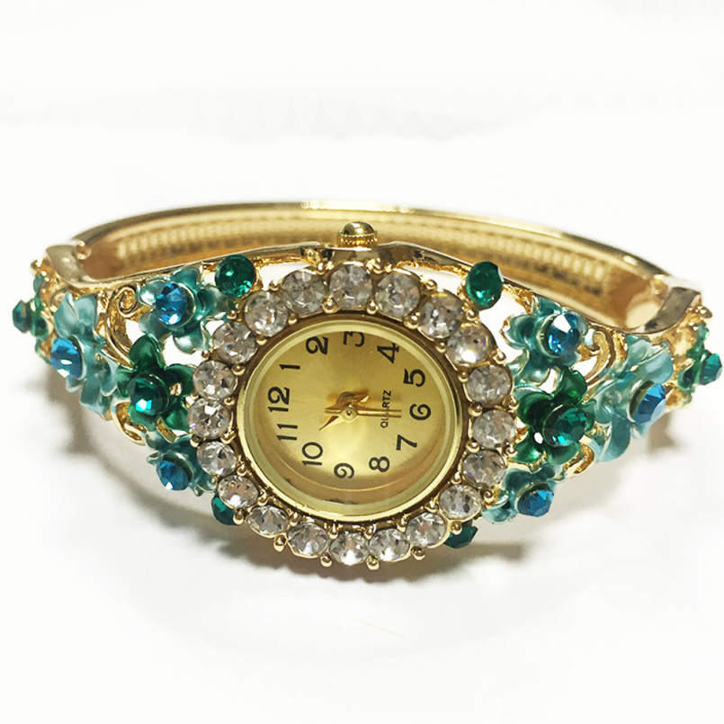 Excellent Quality New Design Quartz Womens Watches Green Crystal Flower Bracelet Quartz Wrist Watch 2016 for Gift