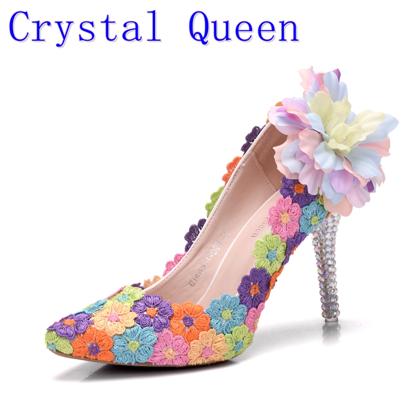Crystal Queen Multicolor Wedding Dress Shoes Ladies Platform High Heel Evening Shoes Woman Pumps Dress Shoes Lace FlowersCrystal Queen Multicolor Wedding Dress Shoes Ladies Platform High Heel Evening Shoes Woman Pumps Dress Shoes Lace Flowers