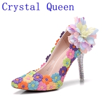Reina de cristal Multicolor Vestido de Novia Zapatos de Plataforma de Las Señoras Bombea Los Zapatos de Vestido de Tacón Alto Zapatos de Noche Mujer de Encaje Flores