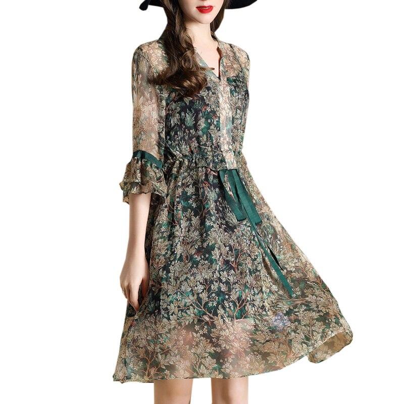 Summer Green Vintage Floral Print Dress Women V Neck Short Sleeve Elegant A Line Silk Dress Robe Femme Party Boho Vestidos