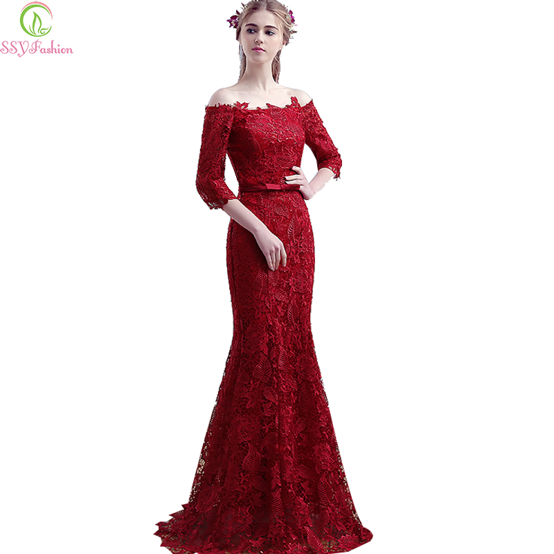 Robe De Soiree SSYFashion Wine Red Lace Half Sleeves Slim Sexy Fishtail   Evening     Dress   Bride Married Mermaid Party Prom   Dresses