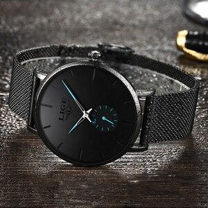 Image 3 - LIGE レディーストップブランドの高級カジュアルファッションウォッチの女性のクォーツ防水時計メッシュベルト女性腕時計レディース腕時計