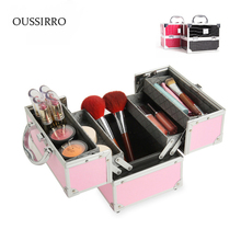 Ms Beauty Cosmetics  organizer Dressing table jewelry storage double open aluminum makeup boxes toolbox beauty cosmetic case