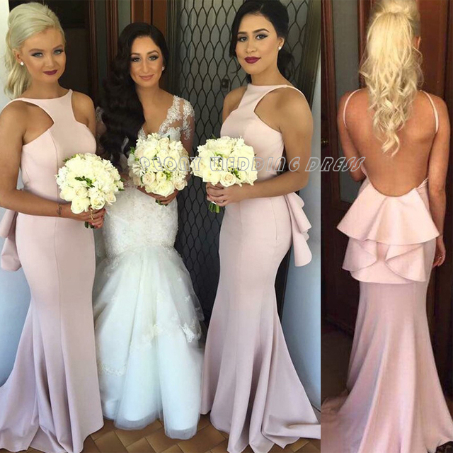 Unique Halter Long Mermaid Bridesmaid Dresses Sexy Satin Light Pink  Bridesmaid Dress Prom Party Dress Fashion Formal Gowns B14 a71477c154fa