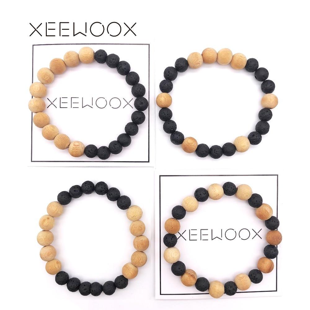 Lava Bead Bracelet Bohemia Essential Oils Diffuser Bracelet For Women Man Natural Stone Wood Round beads Bracelet 2018 New Gift