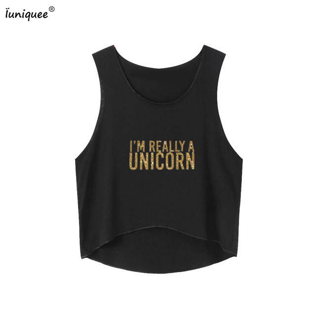 99cce84a427827 Summer Golden Unicorn Tank Top Women Cropped Sequins Unicorns Sequined Vest  Camisole Women Tops Fashion Sexy Black Tank Tops