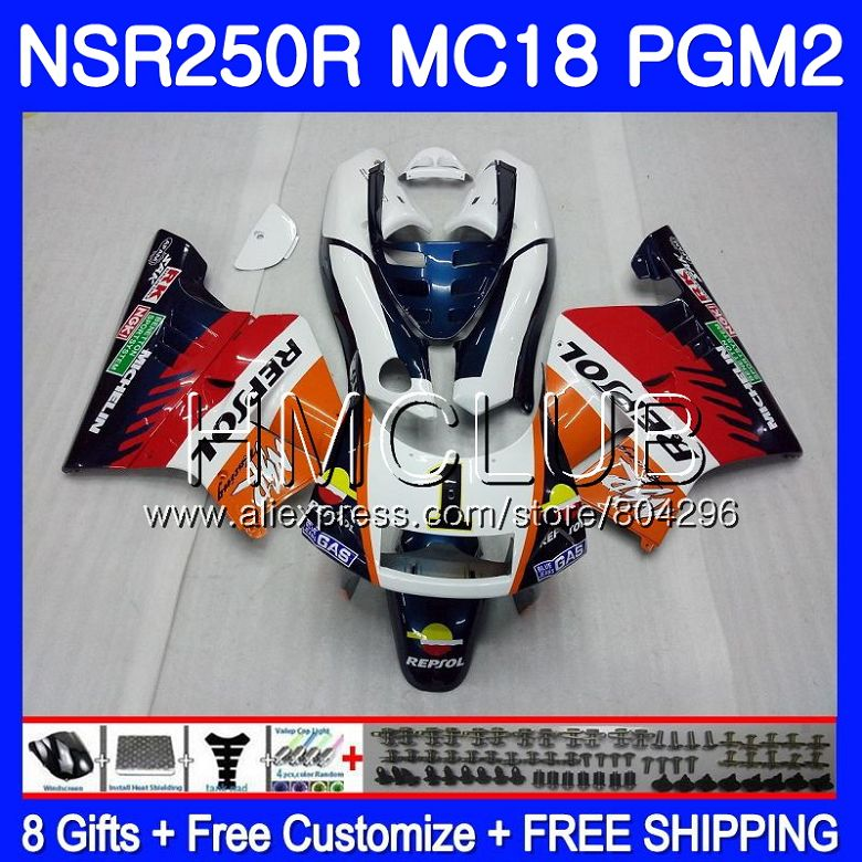 Kit For HONDA <font><b>NSR</b></font> <font><b>250</b></font> R MC18 PGM2 <font><b>NSR</b></font> 250R NS250 NSR250R 88 89 93HM18 NSR250 R RR NSR250RR 1988 1989 88 89 Repsol green Fairing image