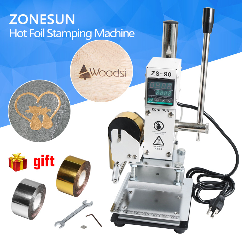ZONESUN Hot Foil Stamping Machine Digital Manual Tipper Stamper Card Foil Logo Embossing Bronzing Wooden Machine For PVC leather toauto digital hot foil stamping machine large 10x13cm logo embossing tool manual logo branding pvc card paper printing machine