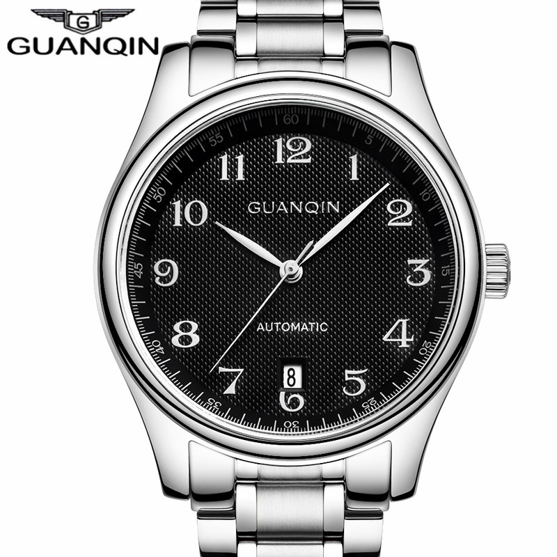 2016 GUANQIN Watches Men Business Automatic Self-Wind Date Wristwatch Luxury Men's Stainless Steel Mechanical Watch Montre Homme luxury tevise wrist watch for men automatic self wind men s watches dress wristwatch high quality free shipping