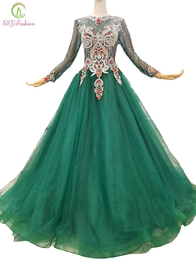 Abendkleider Ssyfashion Neue Luxus Grün Abendkleid High-end Handmade Lange Ärmeln Crstal Friesen Prom Party Kleid Custom Formale Kleider üBereinstimmung In Farbe