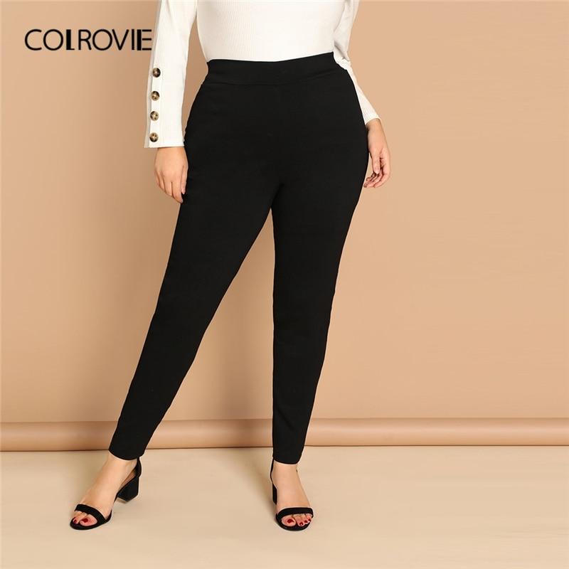 COLROVIE Plus Size Black High Waist Active Wear Skinny   Leggings   Female 2019 Spring Basic   Leggings   Fitness for Women Sexy Pants