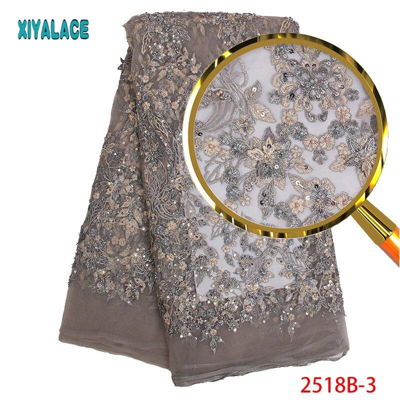 Tela de encaje Luxry de alta calidad tela de encaje africano bordado de encaje cuentas hechas a mano para tela de encaje nupcial 5 yardas PGC2518B 2-in encaje from Hogar y Mascotas    3