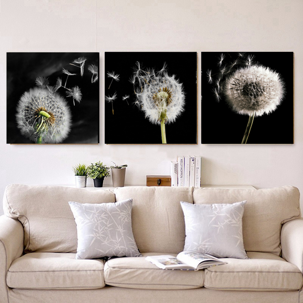 3 Pieces Flowers Home Decoration Dandelion Landscape Wall Art Picture for Dining Room Office Wall Decor Modern Artwork Dropship in Painting Calligraphy from Home Garden