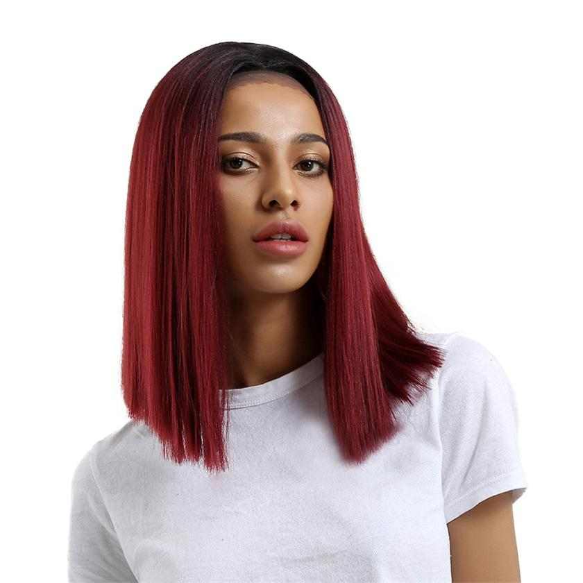 Womens Fashion Glueless Resistant Lace Front Women Red Straight Hair Full Wig 0621