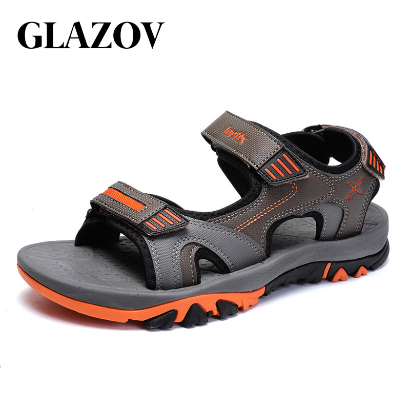 GLAZOV Brand Summer Men Sandals Hook&loop Men's Summer Shoes 2018 Fashion Waterproof Casual Beach Shoes Big Size 40-45 Orange