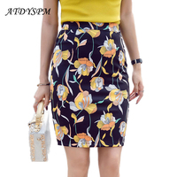 High Waist Fashion Skirt Women Floral Printed Pencil Skirts 2017 Summer Autumn New Slim Bodycon Skirts Female Office Clothing