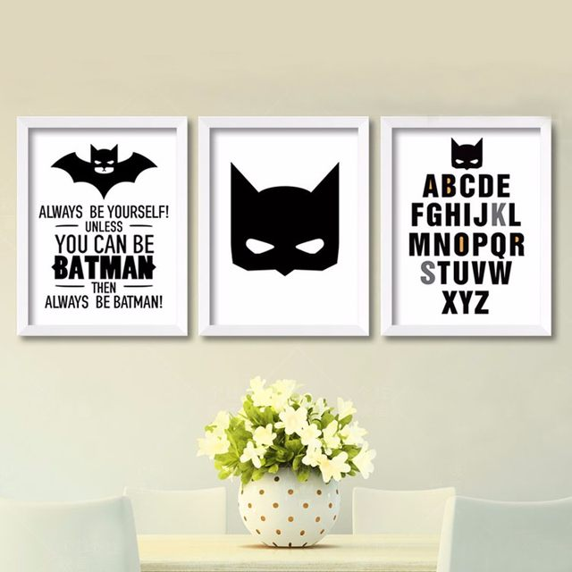 Hot Superhero Batman Wall Art, Modern Poster Canvas Printings Wall Art Wall  Decor Canvas Cuadros Boys Kids Room Decor No Frame