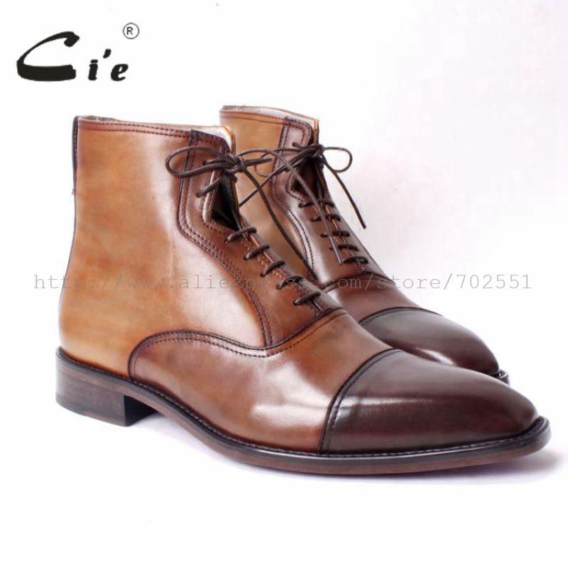cie bonnet carré bout à la main en cuir de vachette pur véritable supérieure intérieure bottes en cuir semelle extérieure en cuir respirant brun foncé No.A66