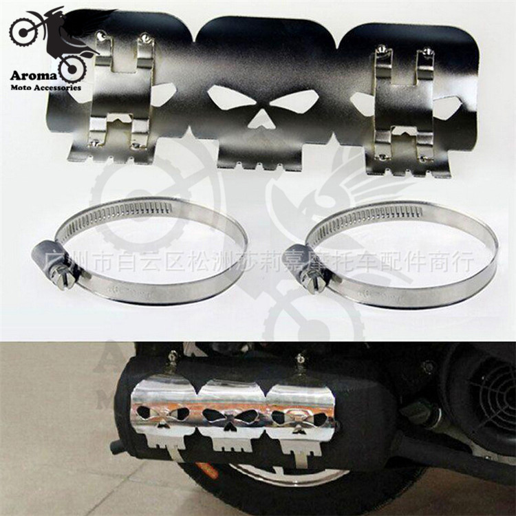 aluminum human skeleton chrome skull decal scooter leg exhaust cover for harley motorcycle protect guard moto exhaust protector
