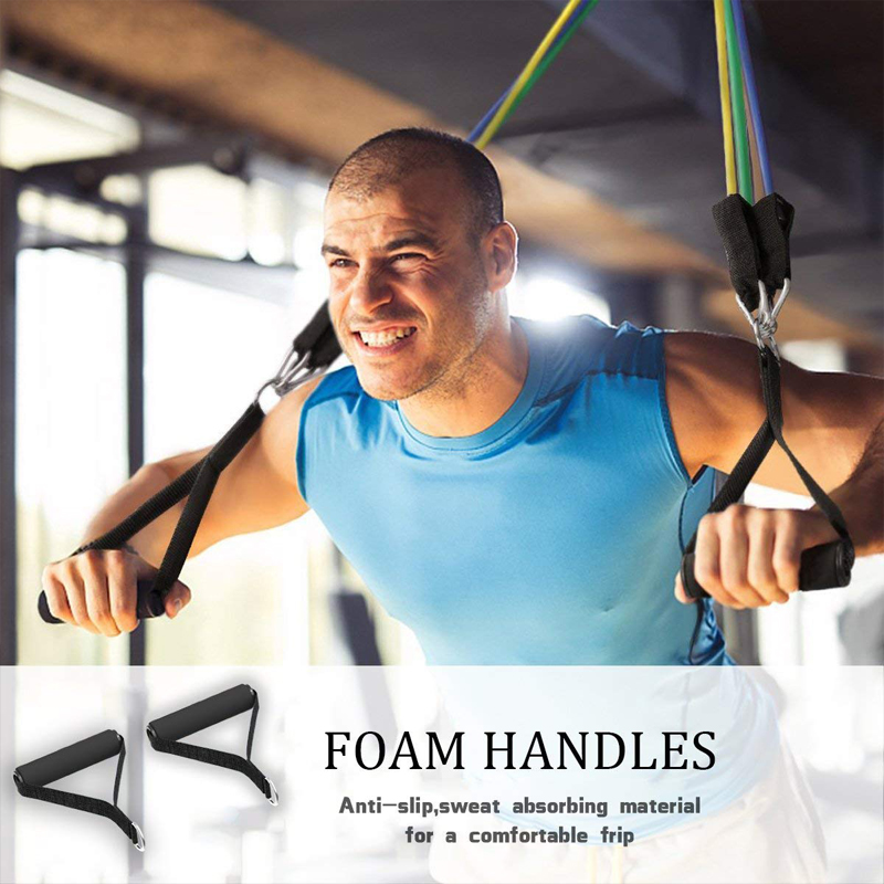 Foto with man 17 pcs set resistance bands for fitness. 17 pcs rubber tubes bands stretch
