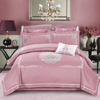 Pink flowers Embroidery Egyptian cotton wedding bedding set girls bed linen home textile bedclothes duvet cover bedspread