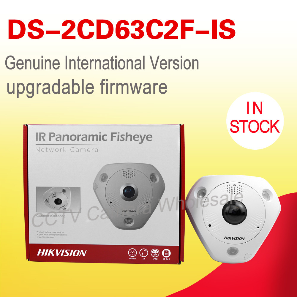 In stock Free shipping DS-2CD63C2F-IS English version 12MP Fisheye Network Camera 360 degree view angle ip camera audio