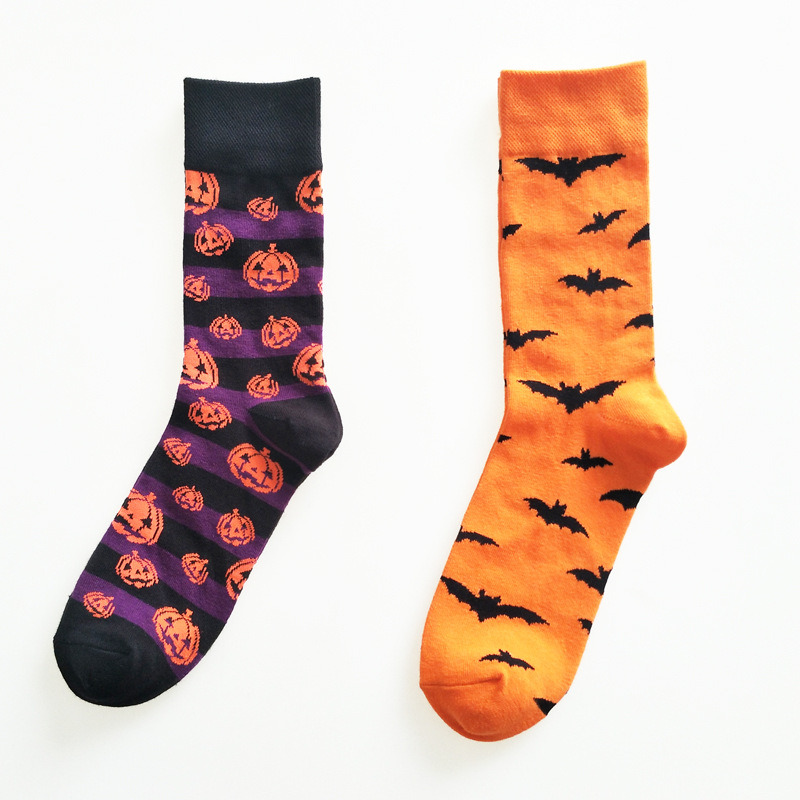 Fashion novel personality men Halloween cartoon cotton socks fun funny bat pumpkin design autumn Funny man socks Calcetines