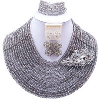 ACZUV Silver Grey Crystal Beaded Necklace Nigerian Wedding African Beads Jewelry Set 15C 004