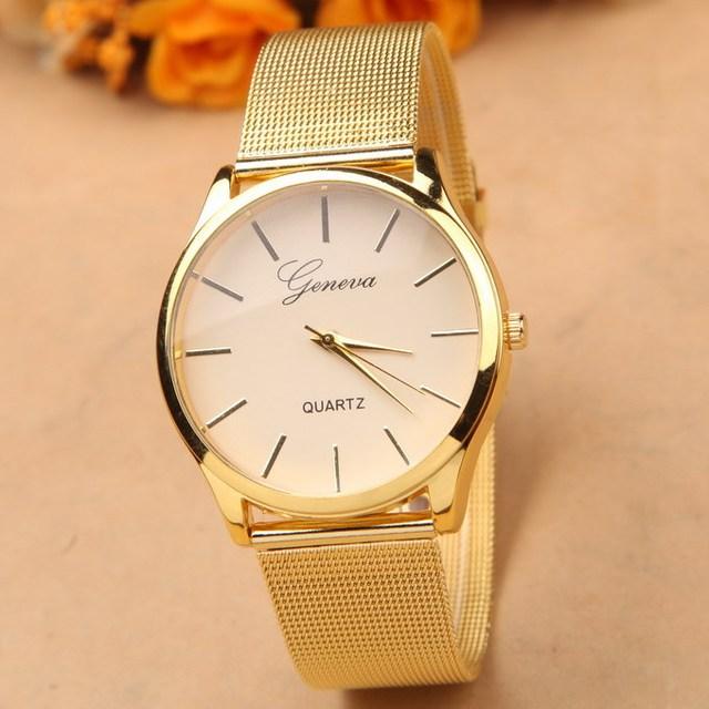 3251a67f66e Noble Geneva Dress Watch Gold Relogio Feminino Clock Simple Vogue Womens  Ladies Analog Quartz Wristwatch Best