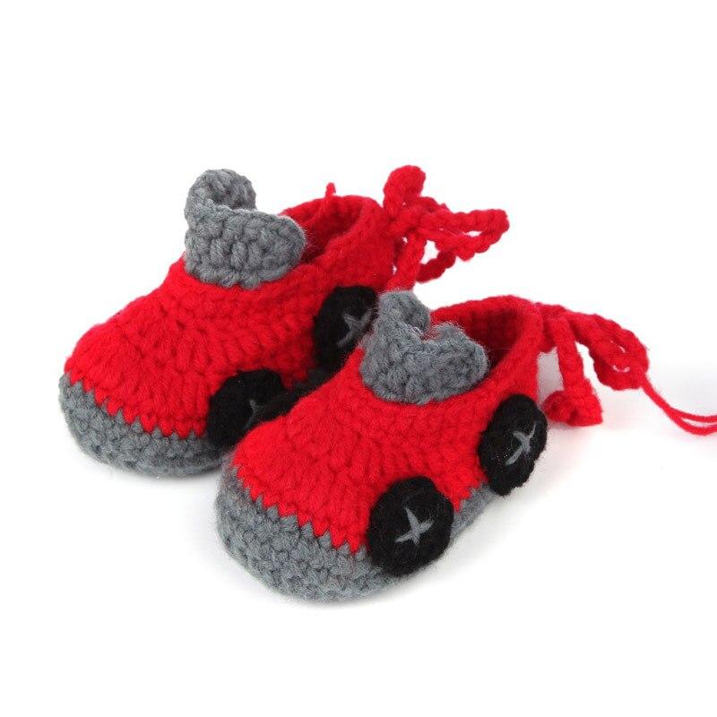 Cartoon Car Baby Boy Shoes Handmade Crochet Booties Soft Sole Baby Moccasins 10 cm