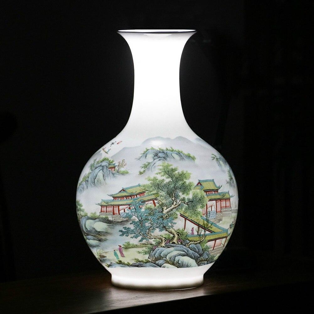 Antique Jingdezhen Vase With Flowers and Landscape Patterns Ceramic Table Vase Porcelain Decorative VaseAntique Jingdezhen Vase With Flowers and Landscape Patterns Ceramic Table Vase Porcelain Decorative Vase
