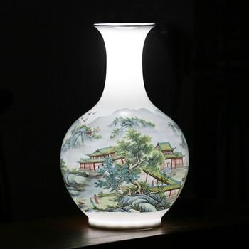 Antique Jingdezhen Vase With Flowers and Landscape Patterns Ceramic Table Vase Porcelain Decorative Vase