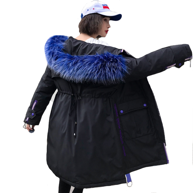 2019 New Arrival Fashion Winter Jacket Women With Thicken Fur Hooded Female Warm   Down     Coat   Long Padded Parka