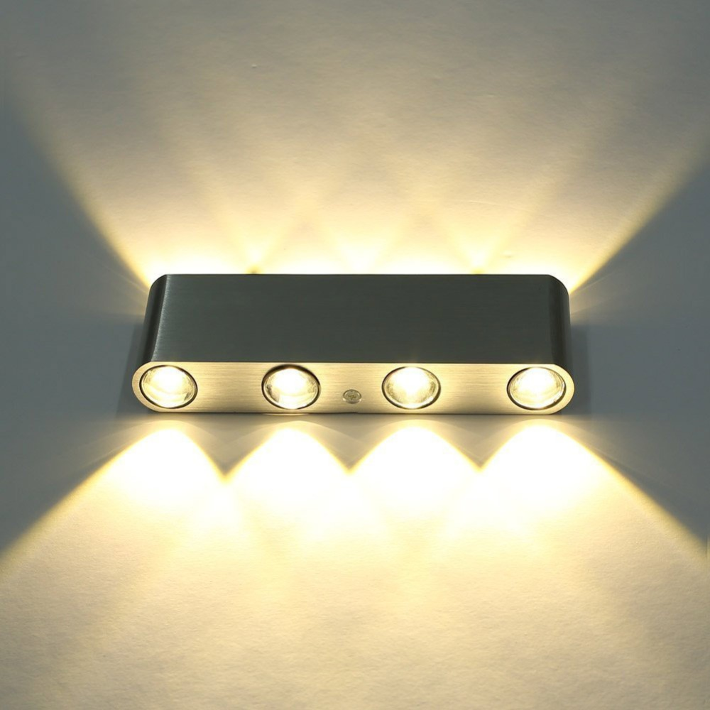 8 w 8 led en aluminium mur lampe ac85 265v haute puissance led maison moderne